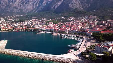 mastro : Makarska, Croatia: panorama of the city Harbor with a view of the sea and the mountains shooting with the drone