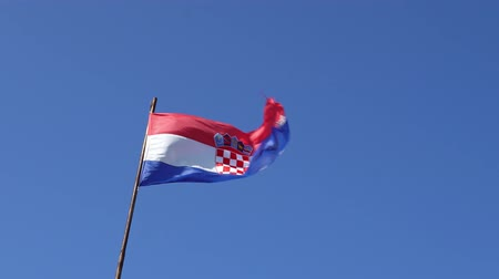 hırvat : Croatian national flag on blue sky background