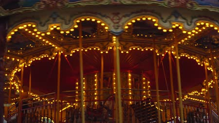 koń : Germany. Berlin December 2018. Christmas carousel at the new years fair Wideo