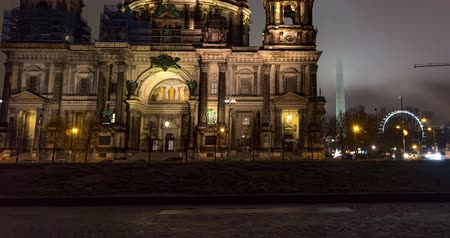 pitka : Germany. Berlin winter night time lapse of Berlin Cathedral