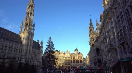 замок : Belgium. Time lapse Christmas square Grand-Place in Brussels
