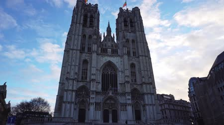 michael : Belgium. Brussels St. Michaels Cathedral against the blue sky in the morning