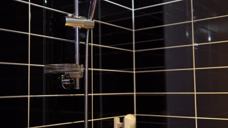 shower room : Beautiful walk in shower with black tiles
