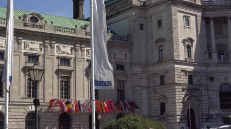 hofburg : Austria September 2018. Flags of the OSCE headquarters in the Hofburg Vienna