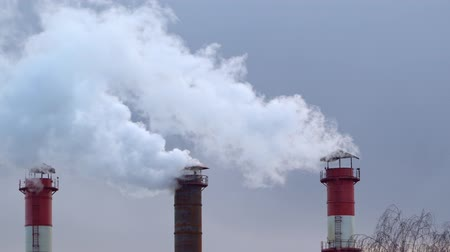 carbon dioxide : Air pollution from the combustion of coal and fuel oil at the heat station Stock Footage