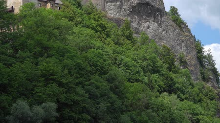 oravsky : famous Orava castle in rock, Slovakia. Stock Footage