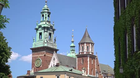 wawel : Royal Wawel Gothic Cathedral in Krakow, Poland Stock Footage