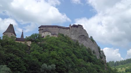 oravsky : famous Orava castle in rock, Slovakia. zoon in