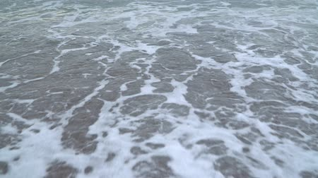 passo : girl walking in the water on the sandy beach Stock Footage