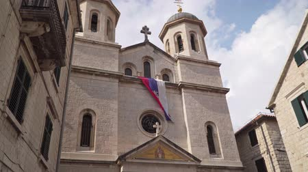 luke : Montenegro. Church of St. Nicholas in the center of the old town of Kotor Stock Footage