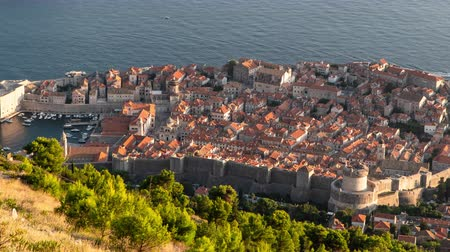 dalmácia : Time Lapse Of Dubrovnik.  View from the height of Dubrovnik. sunset Stock mozgókép