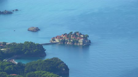 st stephen : View from afar on the island Sveti Stefan in Montenegro