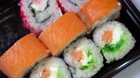 seafood dishes : sushi on the table closeup