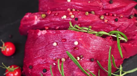 beef dishes : Raw pork beef close up. slow mo