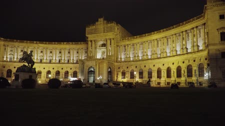 hofburg : Hofburg Imperial Palace in Vienna at night. Austria Stock Footage