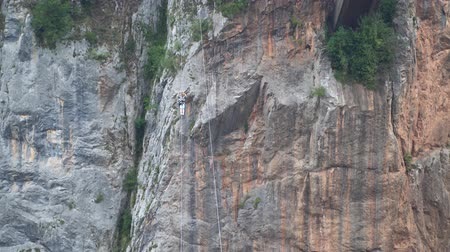 峡谷 : Montenegro September 2019. zip line tourist attraction, near durdevica Bridge over the Tara river 動画素材