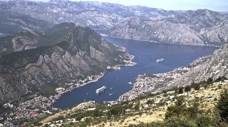 boka : Montenegro. The view from the mountains to the town of Kotor and Boka Bay of Kotor Stock Footage