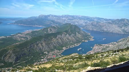 kotorska : Montenegro. The view from the mountains to the town of Kotor and Boka Bay of Kotor Stock Footage