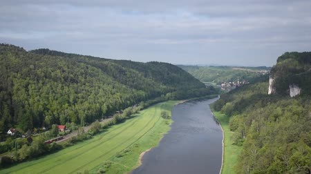 saxon : River Elba in Saxon Switzerland, top view, near Bastei Bridge. Sachsen, Germany Stock Footage