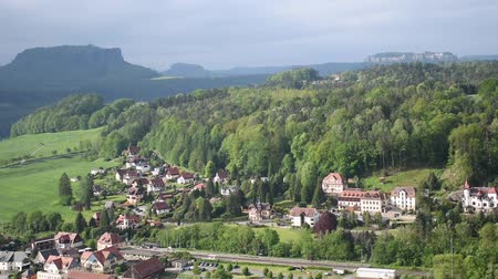 mediaeval : River Elba in Saxon Switzerland, top view, near Bastei Bridge. Sachsen, Germany Stock Footage