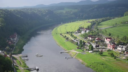 mediaeval : Ferry crossing in rather town near Bastei Bridge, Saxon Switzerland top view, Sachsen, Germany