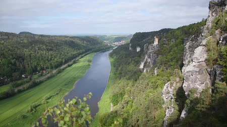 bástya : River Elba in Saxon Switzerland, top view, near Bastei Bridge. Sachsen, Germany Stock mozgókép