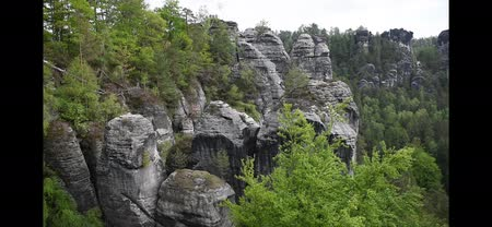 saxon : Video cliff of canyon in Saxon Switzerland Stock Footage
