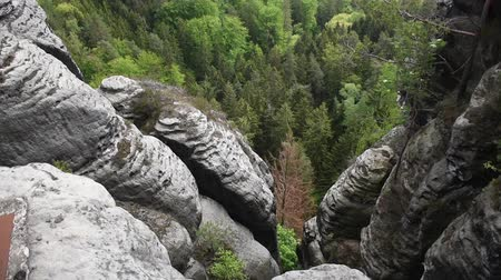 saxon : Tilt video footage of Saxon Switzerland sandstone rocks near bastei bridge  summer, cloudy weather. Stock Footage