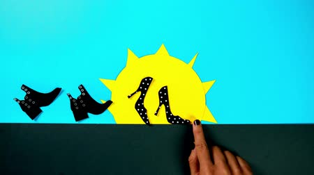 販売の : Black Friday Shoes Sale advertisement for e-commerce store, stop motion animation