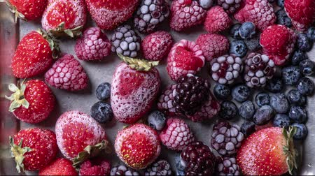 オリエンテーション : Top view of variety of forest fruits, berries freezing, time lapse