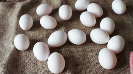ovo : fresh white large raw eggs Stock Footage