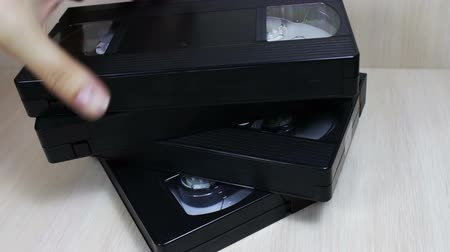 casette : stack of video tape cassette Stock Footage
