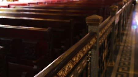 brindle : richly decorated wooden railing in church Stock Footage
