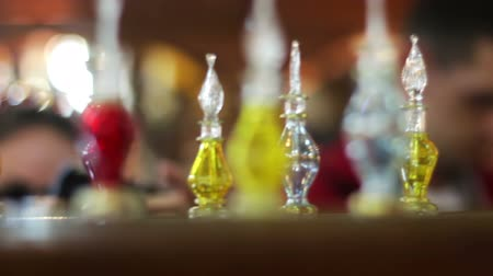 volatile : Sharm el-Sheikh, Egypt - November 29, 2016: Aromatic oil and perfume in Arabic Shop Stock Footage
