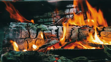 open hearth : Close up view of a huge burning firewood or logs lie on the green and burn in the flames of fire in open air
