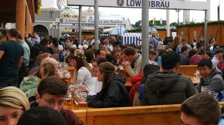 renowned : September 17, 2017 - Munich, Germany:young people sit and celebrate in the beergarten at the world-wide Bavarian festival Oktoberfest. People drink beer from large glass glasses Stock Footage