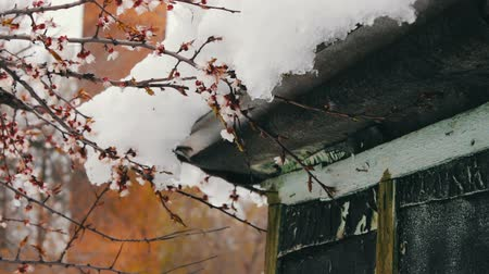 tin roofs : Big snow cap on the roof of the house on the corner of the house Stock Footage