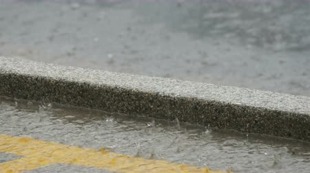 cement floor : Drops of heavy rain fall on asphalt. Tropical Rainfall Stock Footage