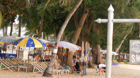 waterline : PATTAYA, THAILAND, December 14, 2017: View on the beach promenade with palm trees and coconuts in Thailand. People rest on the beach. A pointer with an inscription in English swimmig area Stock Footage