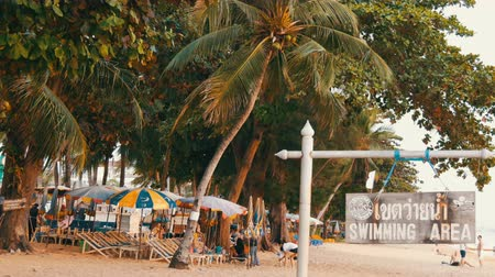 Канкун : PATTAYA, THAILAND, December 14, 2017: View on the beach promenade with palm trees and coconuts in Thailand. People rest on the beach. A pointer with an inscription in English swimmig area Стоковые видеозаписи