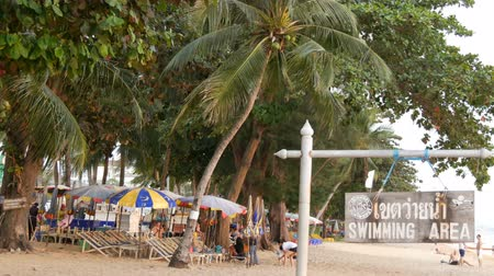atol : PATTAYA, THAILAND, December 14, 2017: View on the beach promenade with palm trees and coconuts in Thailand. People rest on the beach. A pointer with an inscription in English swimmig area Stock Footage
