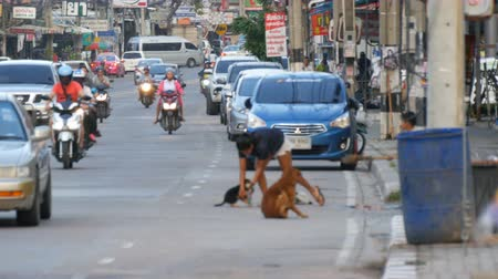 modo de transporte : PATTAYA, THAILAND - DECEMBER 16, 2017: Huge traffic on the streets of Thailand. A lot of cars, minibuses, motorcycles drive in a typical large Asian street