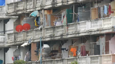 slum house : PATTAYA, THAILAND - December 16, 2017: Very poor area of the city where the poor and the poor live. Dirty and not well-groomed house for the poor