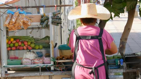 hijenik olmayan : Thai woman sells Thai street food on a portable trolley. Asian exotic dishes