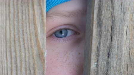 boyish : The boys blue eye of a teenager full of tears looks through the doorway or a crack in the fence directly into the camera. The child peeps