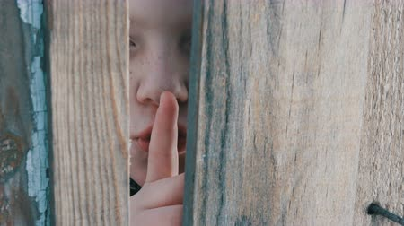 boyish : Frightened teenager boy with blue eyes peeks through a gap between a fence or a doorway and shows a finger of a sign of silence, applying his index finger to his lips