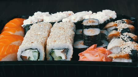 васаби : Stylish fresh sushi set with various kinds of sushi rolls, close up