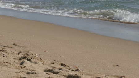 salt lagoon : Waves of the Mediterranean Sea hit the sand on the beach in Spain Stock Footage