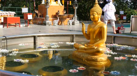клык : PATTAYA, THAILAND - December 18, 2017: Golden statue of a seated Buddha in a small pond over which wax candles float in a variety of colors. Tourists are walking
