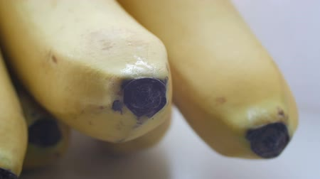 pecker : A bunch of bananas in a yellow peel on a white background macro view close up Stock Footage